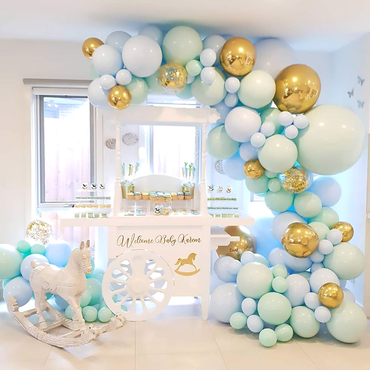 Pastel Green And Blue Balloon Garland Arch Diy Kit For Boy S Birthday And Baby Shower Decorations Balloon Passion